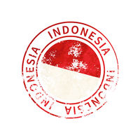 Indonesia sign, vintage grunge imprint with flag on white