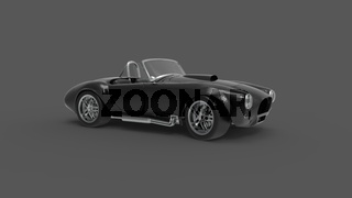 3d rendering of a vintage convertible sports car isolated in studio background