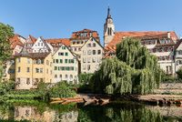 Tuebingen from River Neckar with Hoelderlin Tower and Monastery Church St. George, Germany