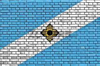 flag of Madison painted on brick wall
