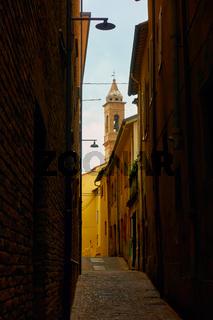 Old narrow street in Rimini