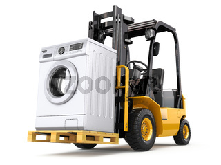 Appliance delivery concept. Forklift truck and washing machine.