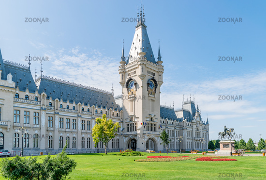 The Palace of Culture in Iasi, Romania. Front view from the Palace Square of The Palace of Culture, the symbol of the city of Iasi on a sunny summer day. Palace of Iasi