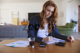 Woman taking notes while sitting on her desk at home