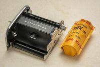 Film back of Hassleblad medium format camera