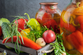 Home canning: canned bell peppers in glass jars