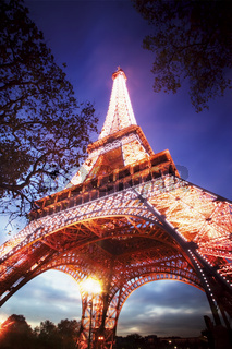 Low Angle of the Eiffel Tower at Dusk.jpg