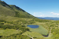 mountain scenery with lake in Carpathians