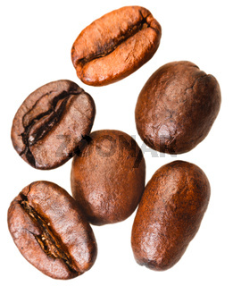 several roasted coffee beans