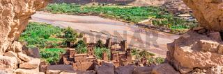Ait Benhaddou Kasbah, Ait Ben Haddou, Ouarzazate, Morocco. Web banner in panoramic view.