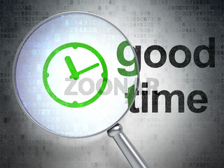Timeline concept: Clock and Good Time with optical glass