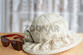 Female summer hat, points for protection against the sun for summer holiday