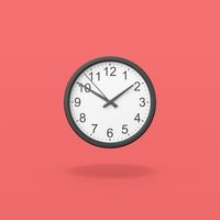 Black Analog Clock on Red Background
