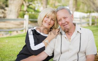 Affectionate Senior Couple Portrait At The Park