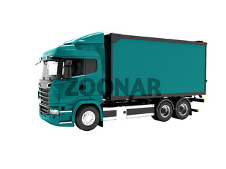 Modern blue truck for transportation of goods around the city 3d render on white background no shadow