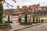 Downtown Square, Karlsplatz with Heidelberg Castle in Heidelberg, Baden-Wuerttemberg, Germany. Europe