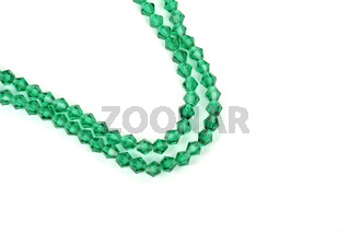 green Glass Sparkle Crystal Isoalted Beads on white background. Use for diy beaded jewelry