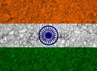 india flag with texture on a background