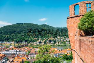 Heidelberg old town panorama view from Heidelberg castle in Germany