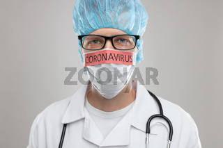 Doctor with a respiratory mask fighting the deadly Coronavirus Covid-19 viral epidemic