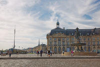 City life and architecture in the downtown of Bordeaux in France