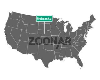 Nebraska Ortsschild und Karte der USA - Nebraska state limit sign and map of USA