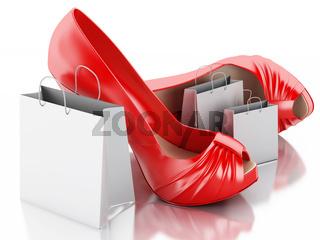 women high heel shoes with Shopping bag 3d.