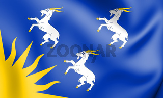 3D Flag of Merionethshire, Wales. 3D Illustration.