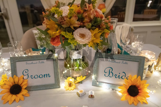 Mr and Mrs Bride and Groom Wedding Table