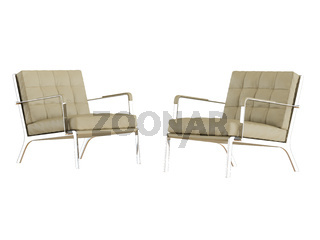Beige leather chair on a white background 3d rendering