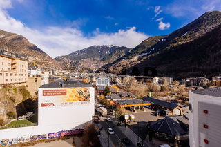 High view on Andorra la Vella streets in valley of Pyrenees mountains