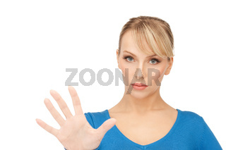 woman making stop gesture