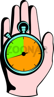 Hand holding a stopwatch icon, icon cartoon