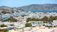 Panoramic view of Mykonos (Chora) town