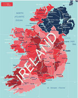 Ireland country detailed editable map