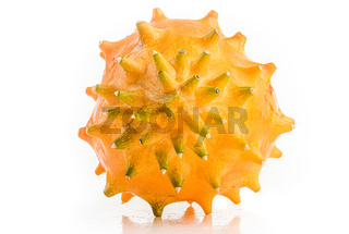 Kiwano or Horned Melon Cucumis metuliferus detailed skin shoot on white background isolated