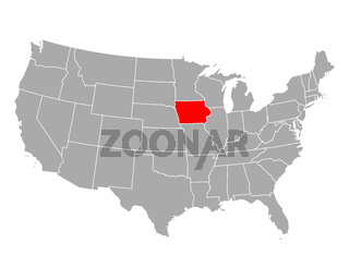 Karte von Iowa in USA - Map of Iowa in USA