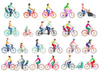 Large group of cyclists, set isolated, vector illustration