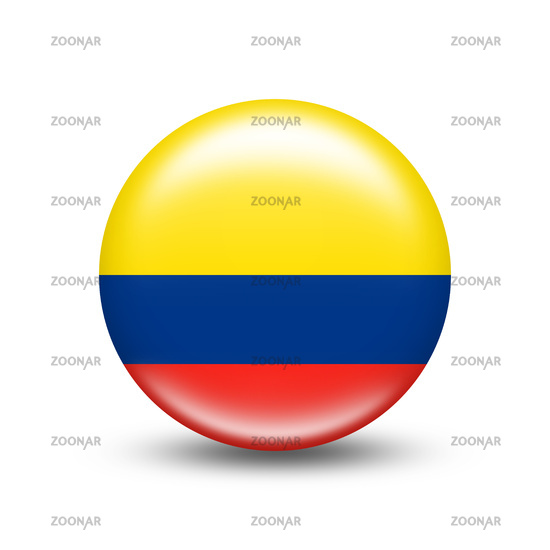 Colombia country flag in sphere with white shadow