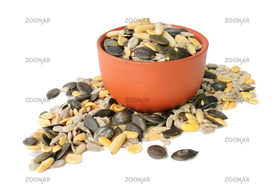 Delicious grains and seeds mix isolated on white background, including clipping path without shade. Germany