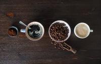 Espresso, coffee beans, ground powder