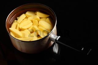 Raw peeled potatoes in pan