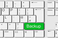 Backup concept PC computer keyboard 3d illustration