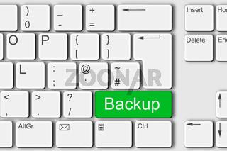 Backup concept PC computer keyboard 3d illustration