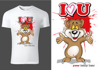 White Child T-shirt Design with Brown Teddy Bear