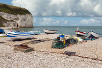 Fishing boats at the beach of Yport in Normandie, France