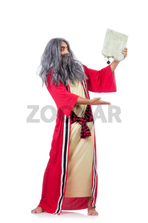 Wizard with water flask isolated on white