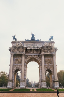 Triumphal arch called Arco della Pace means The Arch of Peace in Porta Sempione district in Milan, Lombardy region in Northern Italy