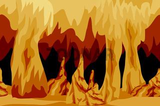 Underground cave landscape background for cartoon or game asset