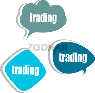 trading word on modern banner design template. set of stickers, labels, tags, clouds